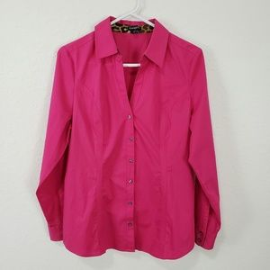 Express | Hot Bright Pink Button Down Top Size L